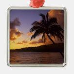 USA, Hawaii, Kauai, Colorful sunrise in a 2 Square Metal Christmas Ornament