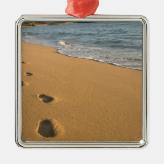 USA, Hawaii, Kauai, Kapa'a, beachfront. RF) Square Metal Christmas Ornament