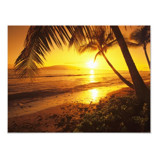 USA, Hawaii, Maui, Colorful sunset in a Photo Print