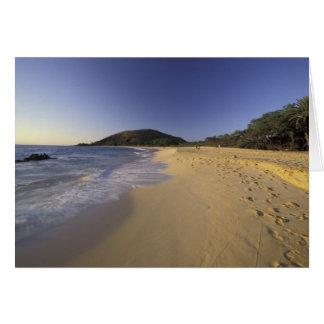 USA, Hawaii, Maui, Footprints in sand, Makena Greeting Card