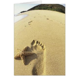 USA, Hawaii, Maui, Makena Beach, Footprint and Card