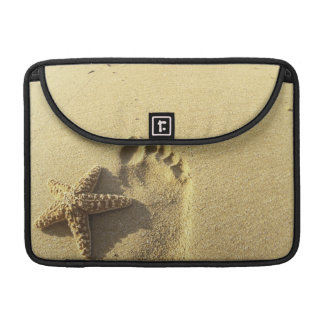 USA, Hawaii, Maui, Makena Beach, Footprint and MacBook Pro Sleeve