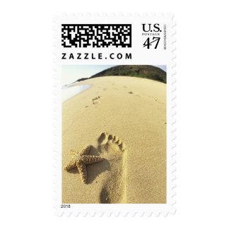 USA, Hawaii, Maui, Makena Beach, Footprint and Postage Stamp