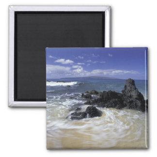 USA, Hawaii, Maui, Maui, Makena Beach, Surf on 2 Inch Square Magnet