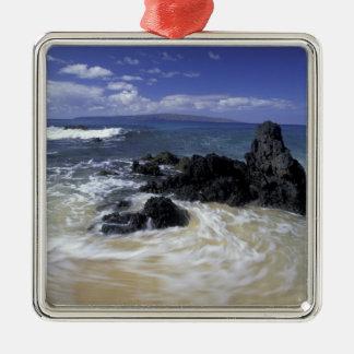 USA, Hawaii, Maui, Maui, Makena Beach, Surf on Metal Ornament