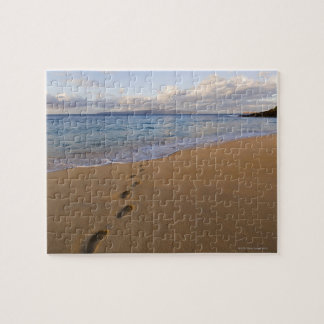 USA, Hawaii, Maui, Wailea, footprints on beach 2 Jigsaw Puzzle