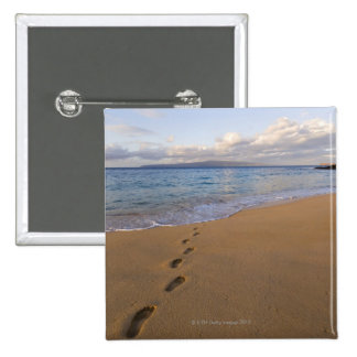 USA, Hawaii, Maui, Wailea, footprints on beach 2 Pinback Button