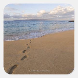 USA, Hawaii, Maui, Wailea, footprints on beach 2 Square Sticker