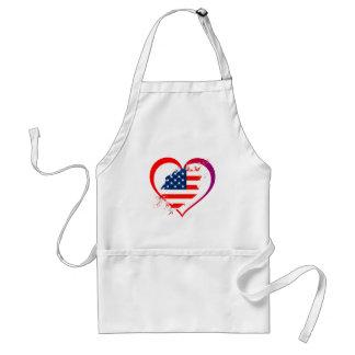 Usa heart adult apron