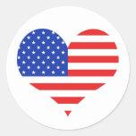 USA Heart Classic Round Sticker