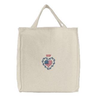 USA Heart Embroidered Tote Bag - Customizable