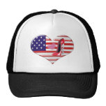 USA Heart Flag and Corkscrew Red Stiletto Shoe Mesh Hat