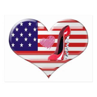 USA Heart Flag and Corkscrew Red Stiletto Shoe Postcard