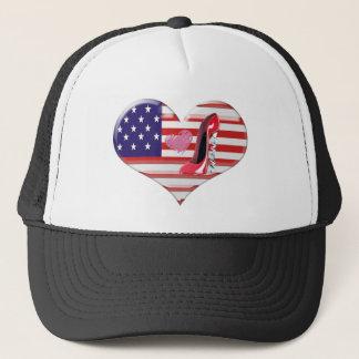 USA Heart Flag and Corkscrew Red Stiletto Shoe Trucker Hat