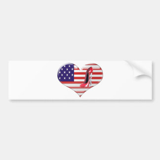 USA Heart Flag and Corkscrew Stiletto Shoe Bumper Sticker