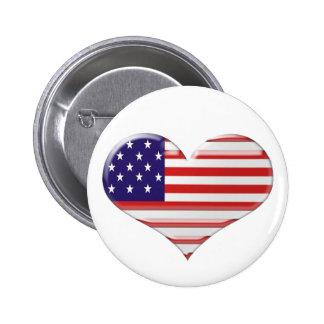 USA Heart Flag Art Gifts Pinback Button