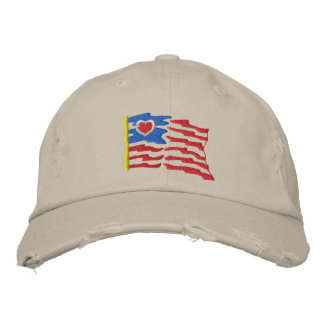 USA Heart Flag Embroidered Hat