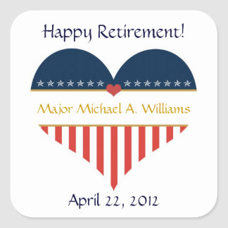 USA Heart Flag Happy Retirement Stickers