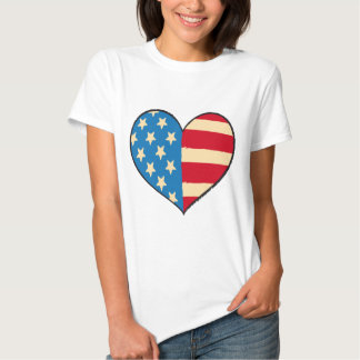 Usa Heart Flag ladies t-shirt