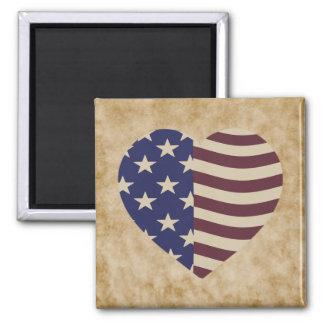 USA heart flag Magnets