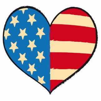 USA Heart Flag photo sculpture