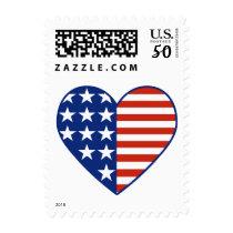 USA Heart Flag Postage Stamp Small