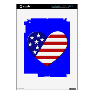USA Heart Flag Skin For iPad 3