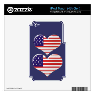 USA Heart Flag Skin For iPod Touch 4G