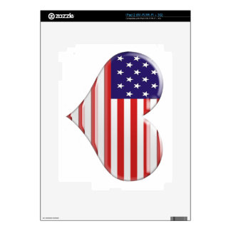 USA Heart Flag Skins For iPad 2