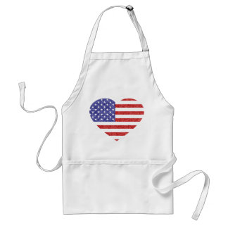 USA Heart Flag Stars & Stripes in Crayon Style Adult Apron