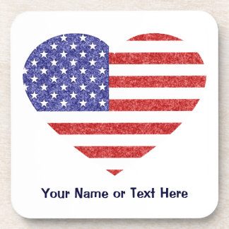 USA Heart Flag Stars Stripes in Crayon Style Coasters