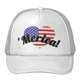 USA Heart Flag Stars & Stripes in Crayon Style Trucker Hat