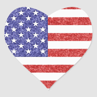 USA Heart Flag Stars & Stripes in Crayon Style Heart Sticker