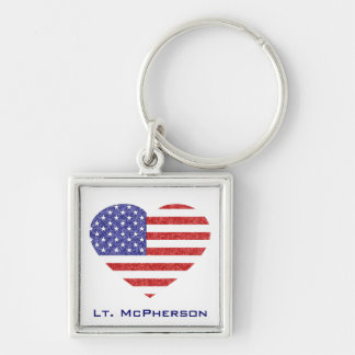 USA Heart Flag Stars & Stripes in Crayon Style Keychains