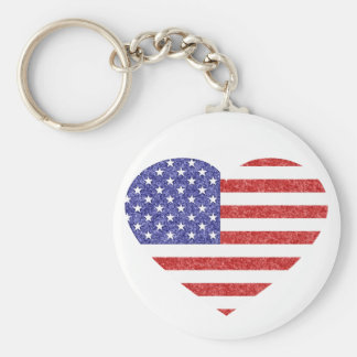 USA Heart Flag Stars & Stripes in Crayon Style Keychain