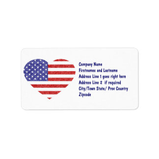 USA Heart Flag Stars & Stripes in Crayon Style Label