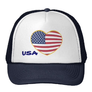 USA Heart Flag Trucker Hat