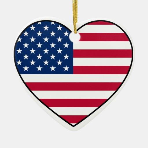 USA Heart Ornament for Christmas Tree