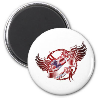USA Heart Wings Magnet