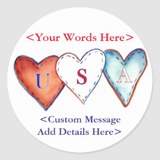 USA Hearts Custom Design Sticker Labels or Decals