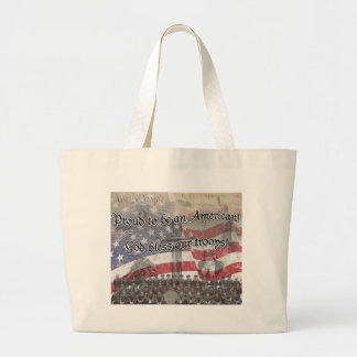 USA Heros God bless our troops with cross, vintage Canvas Bag