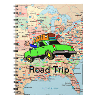 USA Highway Map Road Trip Planner Spiral Note Books