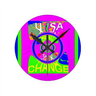 USA Hillary Change Monogram  Art design Round Clock