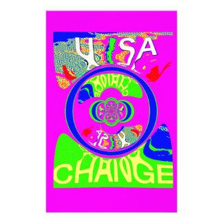 USA Hillary Change Monogram  Art design Stationery