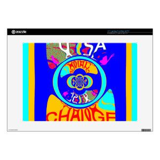 "USA Hillary Change Pattern Art design Decals For 15"" Laptops"