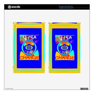 USA Hillary Change Pattern Art design Skin For Kindle Fire