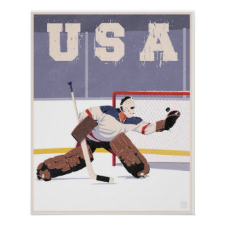 USA hockey goalie Poster