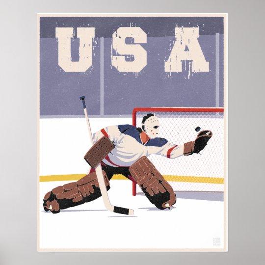 Usa Hockey Goalie Poster Zazzle Com