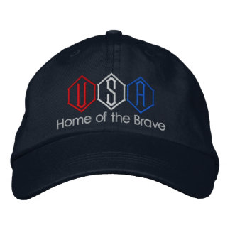 USA Home of the Brave Embroidered Baseball Hat