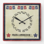USA Home Of The Brave Land Of The Free Wall Clocks